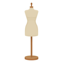 Female tailors dummy on white background, cartoon illustration of tool for handicrafts. Vector