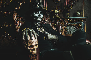 Baron Samedi with skull