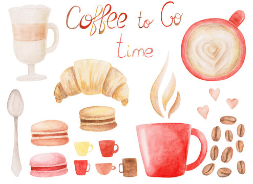 Watercolor Coffee set with cup, roasted beans, macaroons, latte and croissant. Isolated Illustration for design, print or background