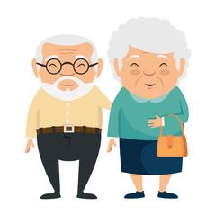 couple of grandparents avatars characters vector illustration design