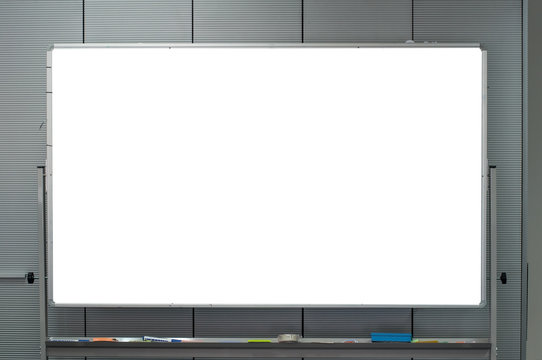 Empty white board for planing discussion in business strategy presentation and communication.