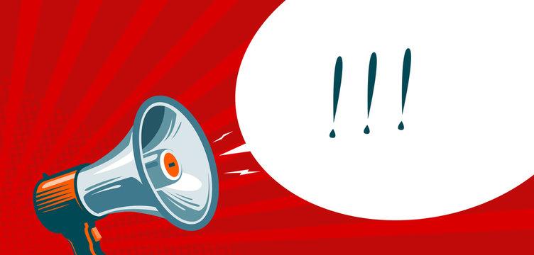 Loudspeaker, megaphone, bullhorn. Advertising, promotion banner. Vector illustration