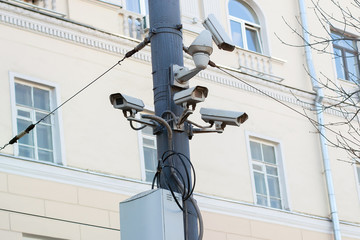 Four surveillance cameras installed in the city on a pole