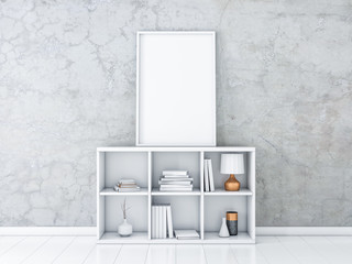 Large Vertical poster Mockup with white frame standing on bureau with books and decor, 3d rendering