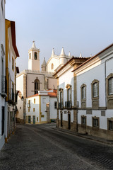 Street in Evora, Portugal, leading to the Church of St. Francis, built between 1475 and the 1550s.