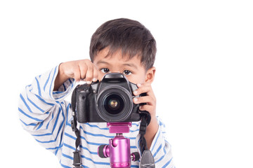 cute asian boy take a photo by camera