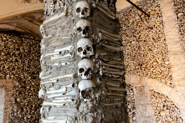 Evora, Portugal, August 17, 2017: Capela dos Ossos was built in the 16th century by a Franciscan monk to prod his fellow brothers into contemplation and transmit the message of life being transitory.