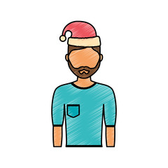flat line colored man with  santa hat  over  white background  vector illustration