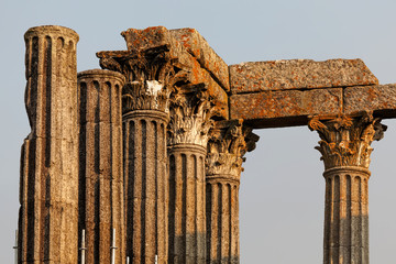 Columns of the Diana Roman Temple in Evora, Portugal, originally constructed in the 1st century, later converted into a temple of the Roman cult worshiped the Emperor Augustus.