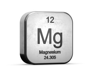 Magnesium element from the periodic table. Metallic icon 3D rendered on white background