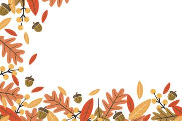 Mod Fall Leaves Horizontal Vector Illustration 1