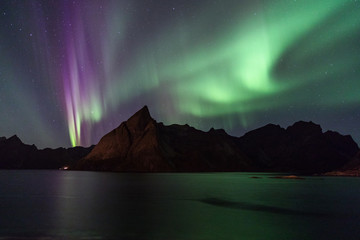 Northern lights over Olstind mountain