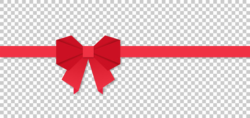 Red ribbon bow in origami style, vector illustration
