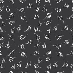 Seamless inverse black and white palm leaves floral pattern vector