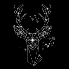 Christmas geometric outline portrait of a deer