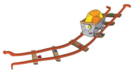Mining cart on railway loaded by precious crystals ore