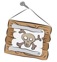 Wooden sign with skull drawing hanging on nail