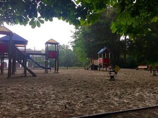 Jardin d'enfants sous la pluie