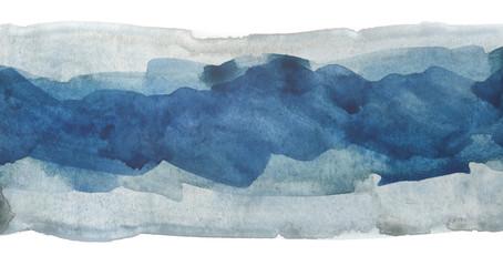Printed roller blinds Fantasy Landscape strip of watercolor. blue multilayer smears splash