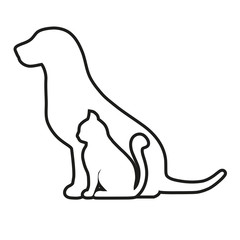 contour of cat and dog on white background