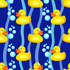 Seamless pattern: rubber duck, children's toy for the bathroom
