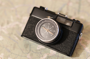 compass at the map