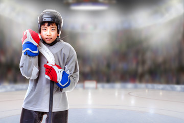 Junior Hockey Player Posing in Arena