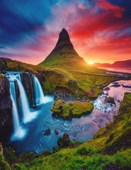 Wall Mural - Kirkjufell volcano the coast of Snaefellsnes peninsula. Location famous Kirkjufellsfoss waterfall, Iceland, Europe.