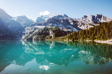 Wall Mural - Panorama of the azure lake Oeschinensee. Swiss alps, Kandersteg.