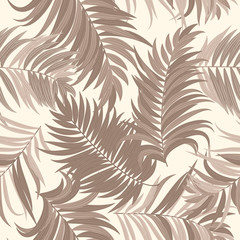 Seamless pattern of tropical leaves of palm tree.