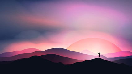 Sunset or Dawn Over Mountains with Man Staring into the Distance Landscape - Vector Illustration.