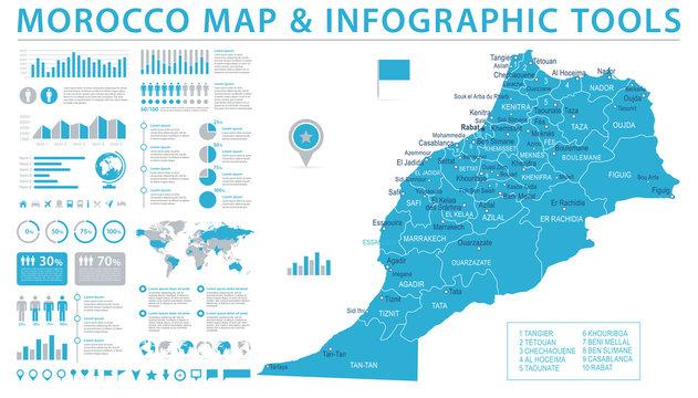 Morocco Map - Info Graphic Vector Illustration