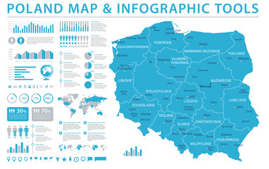 Poland Map - Info Graphic Vector Illustration Wall mural