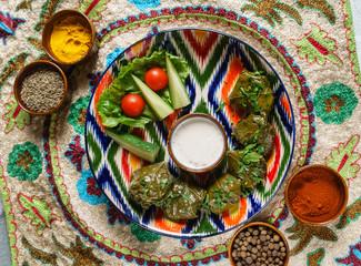 sarma (grape vine leaves, stuffed with rice)a traditional mediterranean dish