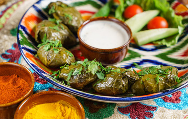 sarma (grape vine leaves, stuffed with rice)a traditional mediterranean dish