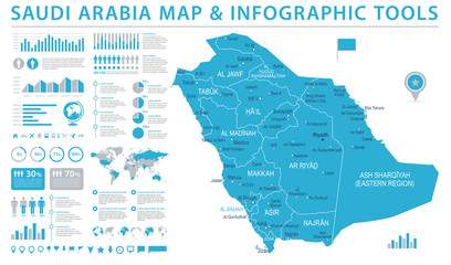 Saudi Arabia Map - Info Graphic Vector Illustration