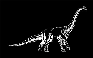 Graphical dinosaur isolated on black background,vector illustration