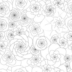 Seamless white pattern with large flowers.