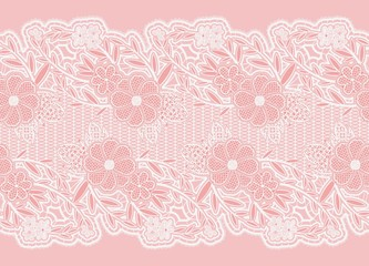 Seamless wide lace ribbon. White delicate flowers on a pink background.