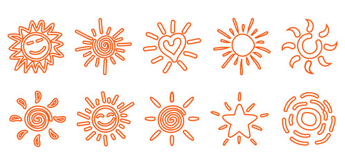 Collection of drawn sun icons, set 5 - stock vector