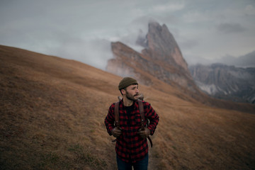 Man hiking in the Italian Alps