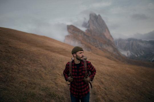 Man hiking in the Italian Alps