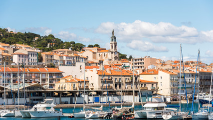View of the port with yachts, Sete, France. Copy space for text.