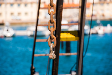 Anchor chain close-up, Sete, France. Close-up.