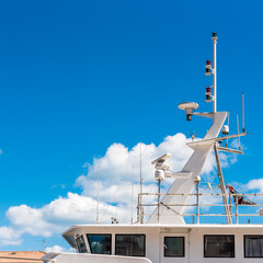 View of the yacht masthead against the blue sky, Sete, France. Copy space for text