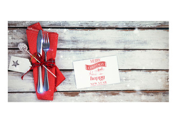 Holiday Card Mockup with Decorative Napkin and Cutlery