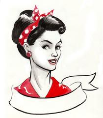 Pin up girl and ribbon