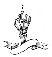 Skeleton middle finger and banner
