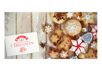 Holiday Card with Christmas Cookies in Snow Mockup 2