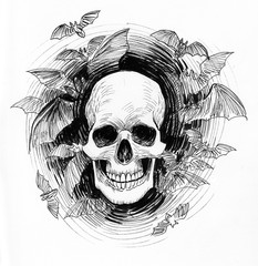 Skull and bats